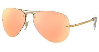 Ray-Ban RB3449 001/2Y LIGHT BROWN MIRROR PINKGOLD
